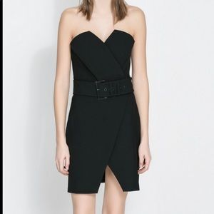 🔥ZARA NWT Black faux leather dress